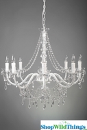 """Ellena"" White & Crystal 8 Light Chandelier - 29"" x 21"""