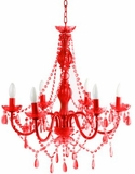 Chandelier Gypsy Red - Large 6 Lights - With Plug