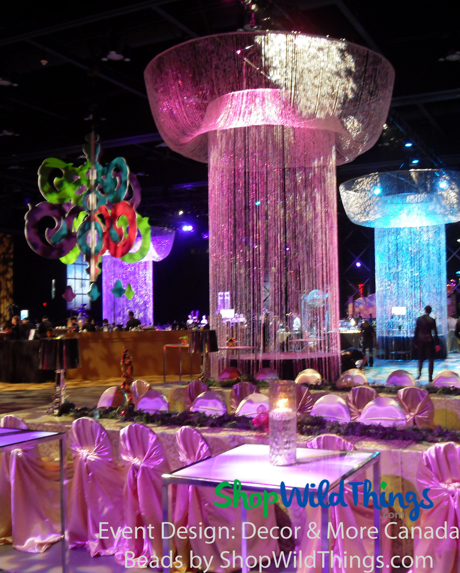 Extra Long Beaded Curtains, Oversized Chandeliers and More