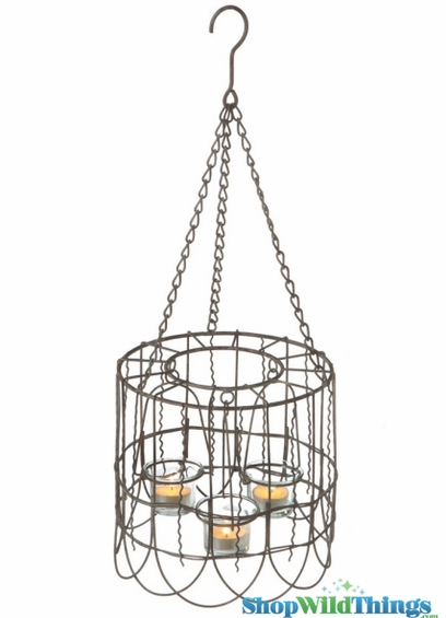 Wire Cage Candle Holder Hanging Or Tabletop