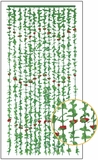 "FabuLush Fabric Flowers Curtain - Green & Roses - 35.5"" x 73"""