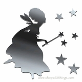 Fairy and Stars Plexi Mirrored Adhesive Wall Art
