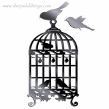 "Fancy Birdcage 13"" x 6.5"" Plexi Mirrored Adhesive Wall Art"