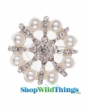 "Brooch Favor Decor - 1"" Round - Rhinestones & Pearls -Silver"