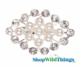 "Brooch Favor Decor - 1"" x 2"" Diamond Shape - Rhinestones & Pearls"