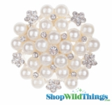 "Brooch Favor Decor - 2"" Round- Rhinestones & Pearls"