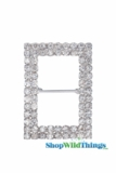 "Buckle Favor Decor - 1"" Wide x 2"" Long - Rhinestones - Silver"