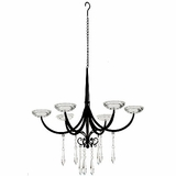 """Felania"" Hanging Metal, Glass & Crystal Candle Chandelier"