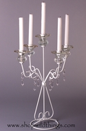"Five Taper 20"" White Metal & Crystal Candle Holder ""Constance"""