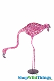 "Flamingo Lifesize Prop 25"" Glitter & Sequins - Head Looking Down"