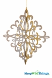 "Fleur-de-lis 3-D Hanging Collapsible Decoration 18"" x 15"" -  Gold/Silver/Champagne Glitter"