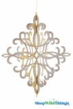 "Fleur-de-lis 3-D Hanging Collapsible Decoration 24"" x 19"" -  Gold/Silver/Champagne Glitter"