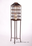 Floor Standing Candle Lantern with Glass - Antique Bronze