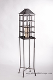 Floor Standing Candle Lantern with Glass - Silver/Pewter