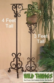 Flower Stand / Plant Stand, Elegant Brown Metal - 3 Feet Tall