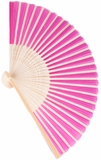 "Folding Fan - Fuchsia Pink Nylon & Wood - 8.25"" x 14.5"""