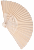 "Folding Fan - Cream Nylon & Wood - 8.25"" x 14.5"""