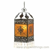"French Hanging Candle Lantern ""Pierre""W/ Amber Glass Panels"