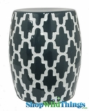 "Garden Stool ""Edgemere"" Blue & White Geometric Pattern"