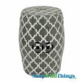 "Garden Stool ""Edgemere"" Gray & White Geometric Pattern"