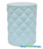 "Garden Stool ""Elsa"" Blue Quilted Pattern"