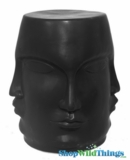 "Garden Stool ""Faces"" Black"