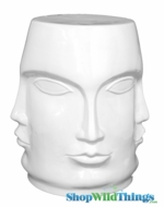 "Garden Stool ""Faces"" White"