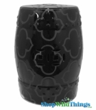 "Garden Stool ""Liang"" Black - Etched Mod Pattern"