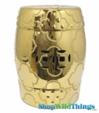 "Garden Stool ""Liang"" Gold - Etched Mod Pattern"