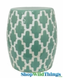 "Garden Stool ""Edgemere"" Green & White Geometric Pattern"