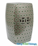 Garden Stool - Silver Geometric Metallic Pattern Decorative Table