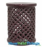 "Garden Stool - ""Sonoma"" Deep Purple Lattice"