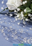 Garland 6 ft Clear Crystal Beads - Silver Wire