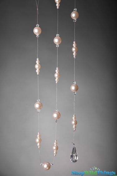 "Garland Pearls on Wire 60"" - Strand of Pearls and Acrylic Gems"