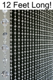 Gemstone Beaded Curtains- Crystal Non-Iridescent - 3 ft x 12 ft