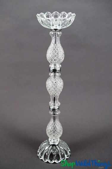 """Candle & Floral Holder/Glass Centerpiece Riser """"Trevino"""" - 23 1/2"""""""