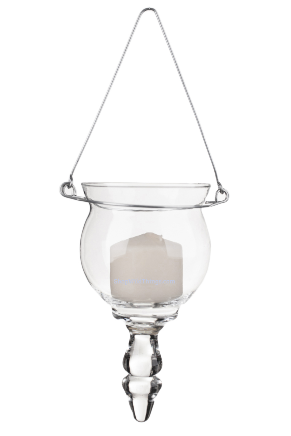 """Candle Holder - Hanging - """"Allie"""" - Clear Glass w/Wire Hanger"""