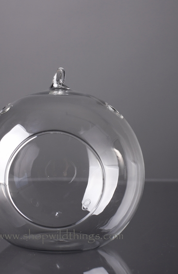 """Coming Soon - Glass Round Hanging (or Standing) Candle Holder or Terrarium- 4.75"""""""