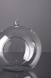 """Glass Round Hanging (or Standing) Candle Holder or Terrarium- 4.75"""""""