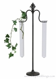 "Glass Tube Vases on 20"" Metal Stand"