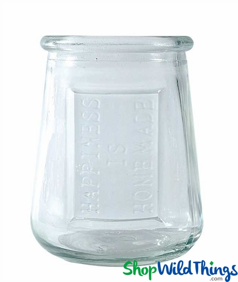 "CLEARANCE! Glass Votive Holder ""Happiness Is Homemade"", 3.75"" - Minimum 10Pcs"