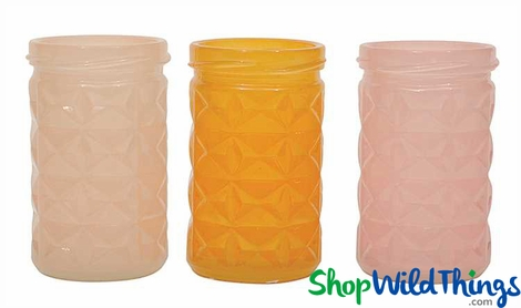 Embossed Glass Pastel Votive Holders - Set of 3 Colors - 3.75""