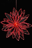 Glitter Flower Ornament - Red- 14.5""