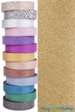 "Glitter Tape Gold 1"" wide x 20 yds"