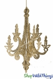 """Granville"" Candelabra - Collapsible 3-D Hanging Decoration 12"" x 9"" - Gold Glitter"