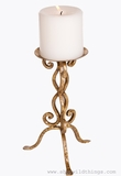 "CLEARANCE - Gold Leafed Elegant Pillar Candle Holder 10"" Tall"