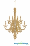 """Granville"" Hanging Candelabra Ornament 16"" High -  Gold Glitter"