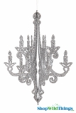 """Granville"" Candelabra - Collapsible 3-D Hanging Decoration 16"" x 12"" -  Silver Glitter"