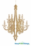 """Granville"" Hanging Candelabra Ornament 24"" High -  Gold Glitter"