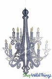 """Granville"" Hanging Candelabra Ornament, 24"" High - Mixed Glitter"